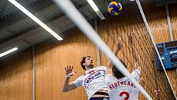 12-05-2017 NED: Nederland - Tsjechië, Amstelveen<br /> De Nederlandse volleybal mannen spelen hun eerste oefeninterland in de Emergohal in Amstelveen tegen Tsjechië. Deze wedstrijd staat in het teken van de verplaatsing van het Bankrasmomument. Nederland speelde daarom in speciale oude Nederlandse shirts uit 1992 / Thomas Koelewijn #15