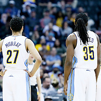 01 February 2016: Denver Nuggets guard Jamal Murray (27) is seen next to Denver Nuggets forward Kenneth Faried (35) during the Memphis Grizzlies 119-99 victory over the Denver Nuggets, at the Pepsi Center, Denver, Colorado, USA.