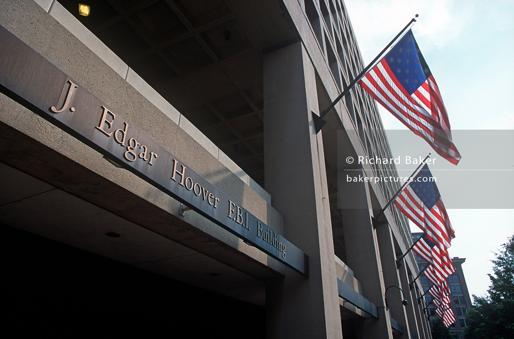 Days after the 9-11 terrorist attacks on the Twin Towers and the Pentagon, an exterior of the J. Edgar Hoover FBI Building, at 935 Pennsylvania Avenue, on 18th September 2001, Washington DC, USA. (Photo by Richard Baker / In Pictures via Getty Images)