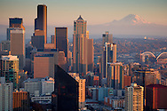 Seattle skyline and Mt. Rainier from Space Needle