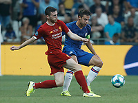 ISTANBUL, TURKEY - AUGUST 14: Andrew Robertson (L) of Liverpool and Cesar Azpilicueta of Chelsea vie for the ball during the UEFA Super Cup match between Liverpool and Chelsea at Vodafone Park on August 14, 2019 in Istanbul, Turkey. (Photo by MB Media/Getty Images)
