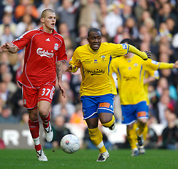 LIVERPOOL, ENGLAND - Saturday, January 26, 2008: Havant and Waterlooville's Richard Pacquette in action against Liverpool's Martin Skrtel during the FA Cup 4th Round match at Anfield. (Photo by David Rawcliffe/Propaganda)