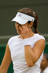 LONDON, ENGLAND - Friday, June 27, 2008: Ana Ivanovic (SRB) looks dejected during her 3rd round defeat on day five of the Wimbledon Lawn Tennis Championships at the All England Lawn Tennis and Croquet Club. (Photo by David Rawcliffe/Propaganda)