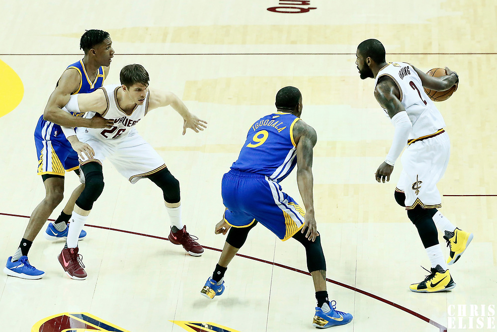 07 June 2017: Golden State Warriors forward Andre Iguodala (9) defends on Cleveland Cavaliers guard Kyrie Irving (2) during the Golden State Warriors 118-113 victory over the Cleveland Cavaliers, in game 3 of the 2017 NBA Finals, at  the Quicken Loans Arena, Cleveland, Ohio, USA.