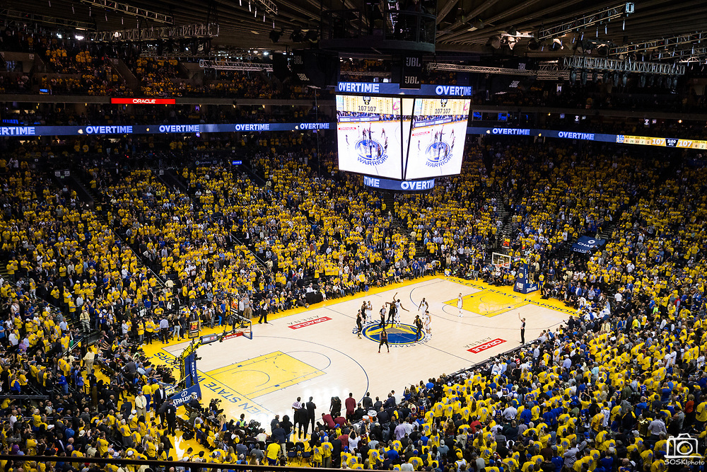 Game 1 of the NBA Finals between the Golden State Warriors and the Cleveland Cavaliers heads to overtime at Oracle Arena in Oakland, Calif., on May 31, 2018. (Stan Olszewski/Special to S.F. Examiner)