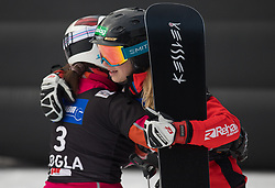 Schoeffmann Sabine and Tudegesheva E. during the woman's Snowboard giant slalom of the FIS Snowboard World Cup 2017/18 in Rogla, Slovenia, on January 21, 2018. Photo by Urban Meglic / Sportida
