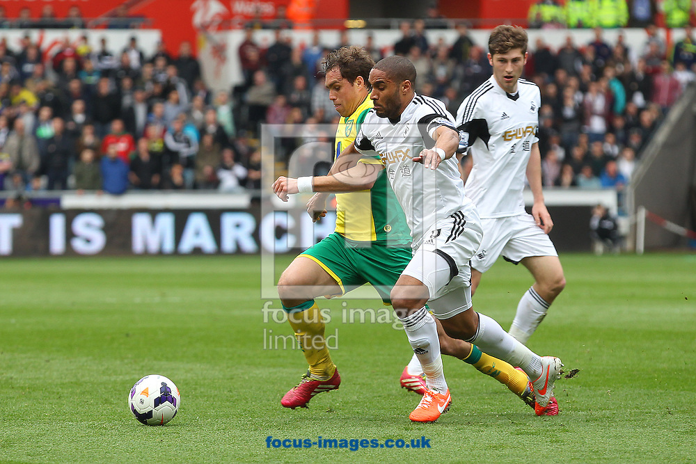 Johan Elmander of Norwich and Ashley Williams of Swansea in action during the Barclays Premier League match at the Liberty Stadium, Swansea<br /> Picture by Paul Chesterton/Focus Images Ltd +44 7904 640267<br /> 29/03/2014
