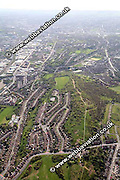aerial photograph of Wincobank Iron Age Hillfort in    Sheffield West Yorkshire England UK built by the Brigantes