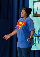 "Middletown, New York -  A girl from the Middletown YMCA's Camp Funshine performs in ""The Show"", a musical production, on Aug. 7, 2014."
