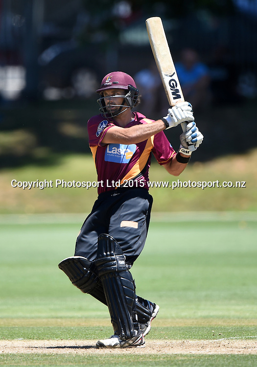 Northern Knights batsman Dean Brownlie batting during his century innings at the Ford Trophy one day cricket match between Auckland Aces and Northern Knights at the Eden Park Outer Oval, Auckland, New Zealand. Sunday 18 January 2015. Photo: Andrew Cornaga/www.Photosport.co.nz