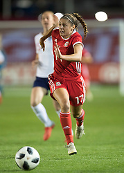 NEWPORT, WALES - Thursday, August 30, 2018: Wales' Peyton Sophia Vincze in action during the FIFA Women's World Cup 2019 Qualifying Round Group 1 match between Wales and England at Rodney Parade. (Pic by Laura Malkin/Propaganda)