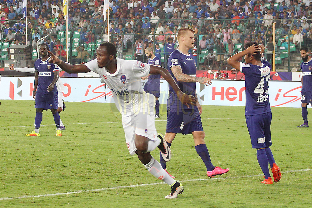 Badara Badji of Delhi Dynamos FC celebrates scoring  during match 6 of the Indian Super League (ISL) season 3 between Chennaiyin FC and Delhi Dynamos FC held at the Jawaharlal Nehru Stadium in Chennai, India on the 6th October 2016.<br /> <br /> Photo by Ron Gaunt / ISL/ SPORTZPICS