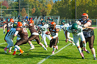 KELOWNA, CANADA - OCTOBER 21: Receiver Malcolm Miller #18 runs with the ball between offensive linemen Daniel Townsend #66 and Jamie Fortune #61 of the Okanagan Sun during the BCFC Semi-Finals against the Chilliwack Huskers on Sunday, October 21, 2018, at the Apple Bowl, in Kelowna, British Columbia, Canada.  (Photo by Marissa Baecker/Shoot the Breeze)  *** Local Caption ***
