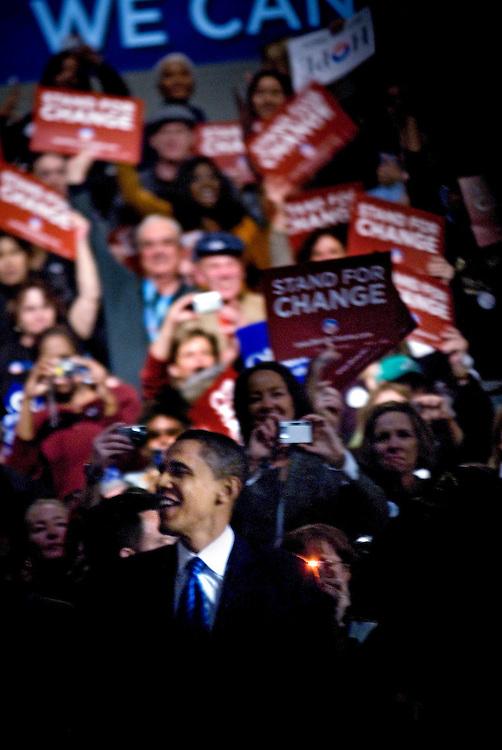Barack Obama after winning the Iowa Caucuses..Photographer Chris Maluszynski /MOMENT
