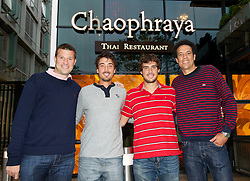 LIVERPOOL, ENGLAND - Thursday, June 20, 2013: Barry Cowan, Martin Alund, Guido Pella and Younes El Ayanoui enjoy dinner at Chaophraya Thai restaurant in Liverpool One during Day One at the Liverpool Hope University International Tennis Tournament at Calderstones Park. (Pic by David Rawcliffe/Propaganda)