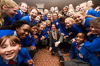 "REPRO FREE: ""The Late Late Toy Show audition tour hit Galway today with performers from across the West trying out for a spot on Ireland's biggest TV show. Pictured at the auditions was Ryan Tubridy with one of the Scoil Mhuire Oranmore <br /> <br />  Photo :Andrew Downes, XPOSURE"
