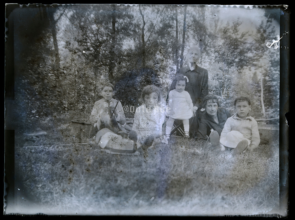double exposured film with family portrait France 1926