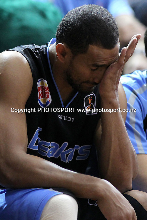 Breakers' Mika Vukona reacts to the heavy defeat. iinet ANBL, Semi-Finals Game 1, New Zealand Breakers vs Perth Wildcats, North Shore Events Centre, Auckland, New Zealand. Thursday 7th April 2011. Photo: Anthony Au-Yeung / photosport.co.nz