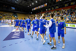 Players of Slovenia celebrate win agains Iceland after handball match between National teams of Slovenia and Iceland in Main Round of 2018 EHF U20 Men's European Championship, on July 25, 2018 in Arena Zlatorog, Celje, Slovenia. Photo by Urban Urbanc / Sportida