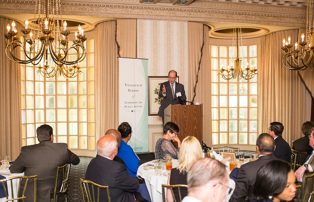 Voinovich School founding dean Mark Weinberg addresses the room during the Ohio University State Government Alumni Luncheon on Tuesday, May 5, 2015.  Photo by Ohio University  /  Rob Hardin