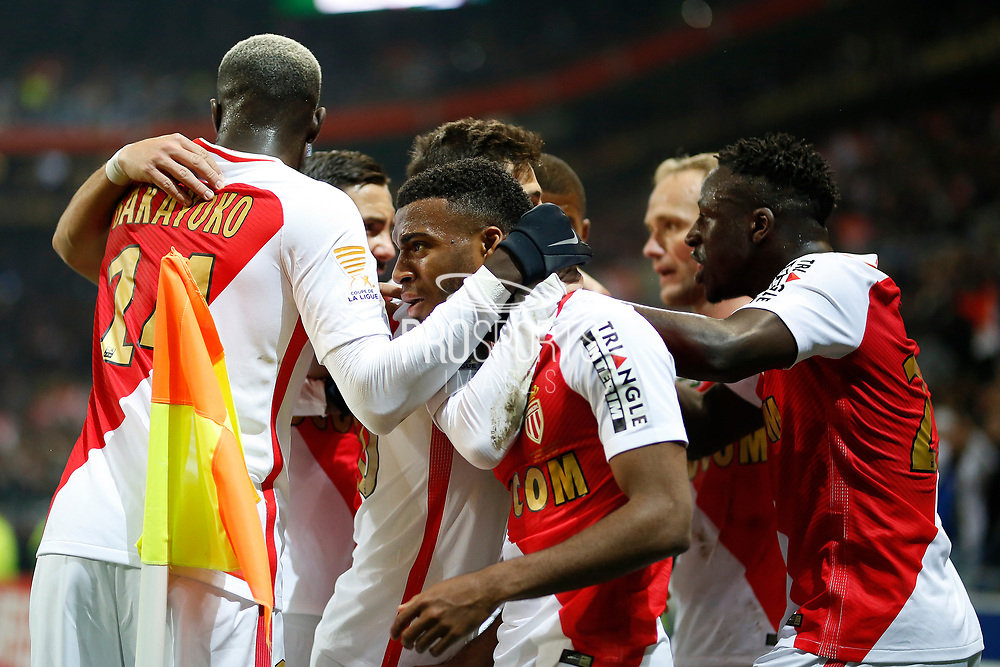 Monaco's French midfielder Thomas Lemar celebrates after scoring during the French League Cup, Final football match between AS Monaco and Paris Saint-Germain FC on April 1, 2017 at the Parc Olympique Lyonnais stadium in Decines-Charpieu near Lyon, France - Photo Benjamin Cremel / ProSportsImages / DPPI