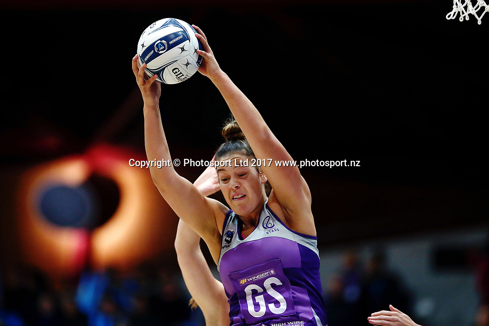 Maia Wilson of the Stars wins the entry ball against Kelly Jury of the Magic. 2017 ANZ Premiership netball match, Northern Stars v Waikato BOP Magic at the Vodafone Events Centre, Auckland, New Zealand. 22 May 2017 © Copyright Photo: Anthony Au-Yeung / www.photosport.nz