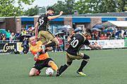 2019, June 19. Culemborg, The Netherlands. Luca Gilliot and Dylan Peys at the soccer match of Creators FC vs CVV Vriendenschaar.