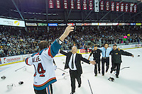 KELOWNA, CANADA - MAY 13: Tyson Baillie #24 of Kelowna Rockets celebrates the WHL championship with Lorne Fry, Director of Player Personnel of the Kelowna Rockets against the Brandon Wheat Kings on May 13, 2015 during game 4 of the WHL final series at Prospera Place in Kelowna, British Columbia, Canada.  (Photo by Marissa Baecker/Shoot the Breeze)  *** Local Caption *** Lorne Fry; Tyson Baillie;