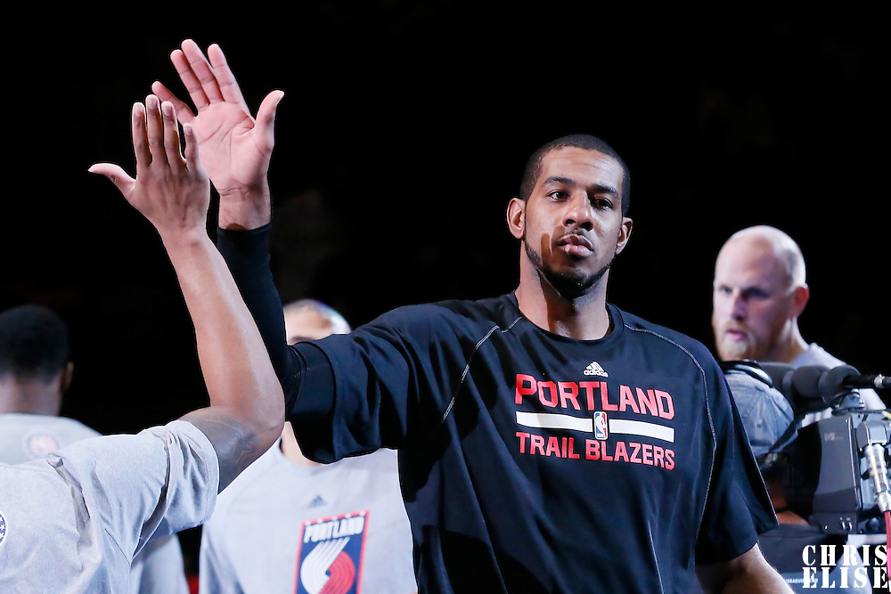 08 November 2014: Portland Trail Blazers forward LaMarcus Aldridge (12) is seen during the players introduction prior to the Los Angeles Clippers 106-102 victory over the Portland Trail Blazers, at the Staples Center, Los Angeles, California, USA.