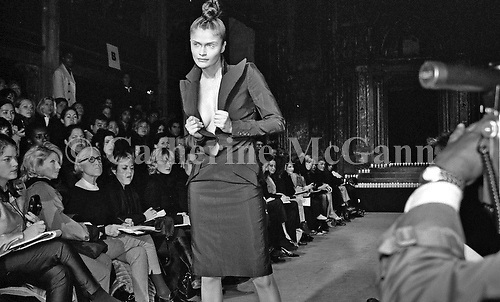 March 1996:  Helena Christensen at Alexander McQueen's first fashion show in New York.  The collection was shown in a former synagogue on Norfolk Street (now the Angel Orensanz Foundation Center for the Arts) on the Lower East side in New York City, New York.