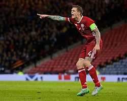 GLASGOW, SCOTLAND - Tuesday, March 29, 2016: Denmark's captain Daniel Agger in action during the friendly game against Scotland at Hampden Park. (Pic by Lexie Lin/Propaganda)
