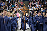 The Cross for the undergraduate commencement mass in the McCarthey Athletic Center on May 13. Photo by Libby Kamrowski