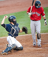 Catching for the New Hampshire Fisher Cats Travis D'Arnaud during Saturday night's game with the Portland Sea Dogs.  (Karen Bobotas/for the Concord Monitor)