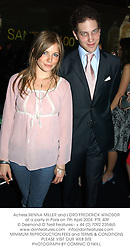 Actress SIENNA MILLER and LORD FREDERICK WINDSOR at a party in Paris on 7th April 2004.PTE 409