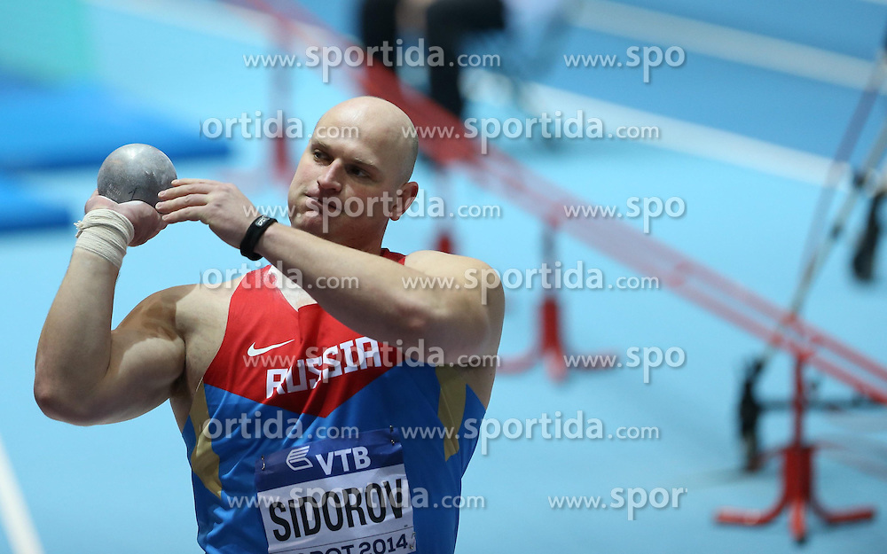07.03.2014, Ergo Arena, Sopot, POL, IAAF, Leichtathletik Indoor WM, Sopot 2014, Tag 1, im Bild Maksim Sidorov (Russia) competite during the Shot Put qualifications // Maksim Sidorov (Russia) competite during the Shot Put qualifications during day one of IAAF World Indoor Championships Sopot 2014 at the Ergo Arena in Sopot, Poland on 2014/03/07. EXPA Pictures © 2014, PhotoCredit: EXPA/ Newspix/ Michal Fludra<br /> <br /> *****ATTENTION - for AUT, SLO, CRO, SRB, BIH, MAZ, TUR, SUI, SWE only*****