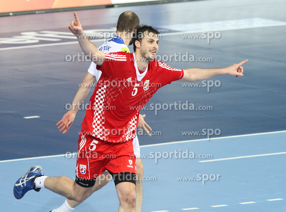 25.01.2013 Barcelona, Spain. IHF men's world championship, 3º/4º place. Picture show Domagoj Duvnjak in action during game between Slovenia vs Croatia at Palau St. Jordi