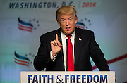 Presumptive Republican presidential nominee Donald Trump delivers remarks during the Faith and Freedom Coalition conference June 10, 2016, in Washington, DC.