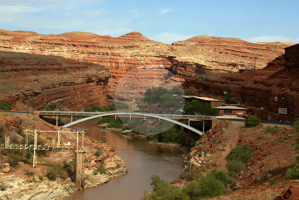 View of the bridge over the San Juan River in Mexican Hat, Utah north of Monument Valley on the southern border of Utah with northern Arizona.