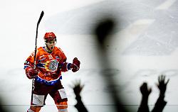 Robert Sabolic of Jesenice celebrates during ice-hockey match between HK Acroni Jesenice and HDD Tilia Olimpija in fourth game of Final at Slovenian National League, on April 8, 2011 at Arena Podmezakla, Jesenice, Slovenia. (Photo by Vid Ponikvar / Sportida)
