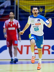 Dragan Gajic of Slovenia reacts during handball match between Slovenia and Croatia in  2nd Round of Preliminary Round of 10th EHF European Handball Championship Serbia 2012, on January 18, 2012 in Millennium Center, Vrsac, Serbia. Croatia defeated Slovenia 31-29. (Photo By Vid Ponikvar / Sportida.com)