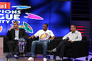 HD Ackerman, Dwayne Bravo and Sundar Raman on the Supersport set during the CLT20 live broadcast party held at the Supersport Studios in Johannesburg on the 8 September held as part of the build up to the Champions League T20 tournament being held in South Africa between the 10th and 26th September 2010..Photo by: Ron Gaunt/SPORTZPICS/CLT20