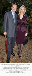 The EARL & COUNTESS OF DERBY at a dinner in London on 19th May 2003.<br /> PJS 3