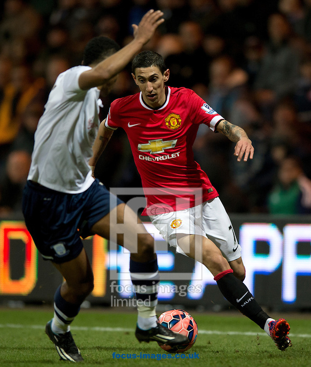 Angel Di Maria of Manchester United looks to find a way past Chris Humphrey of Preston North End during the FA Cup match at Deepdale, Preston<br /> Picture by Russell Hart/Focus Images Ltd 07791 688 420<br /> 16/02/2015