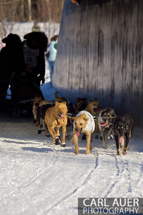 March 7th, 2009:  Anchorage, Alaska: Matt Hayashida's team from Willow, Alaska heads into the sunlight after going through a pedestrian tunnel next to the Alaska Native Hospital during the Ceremonial Start of the 2009 Iditarod.