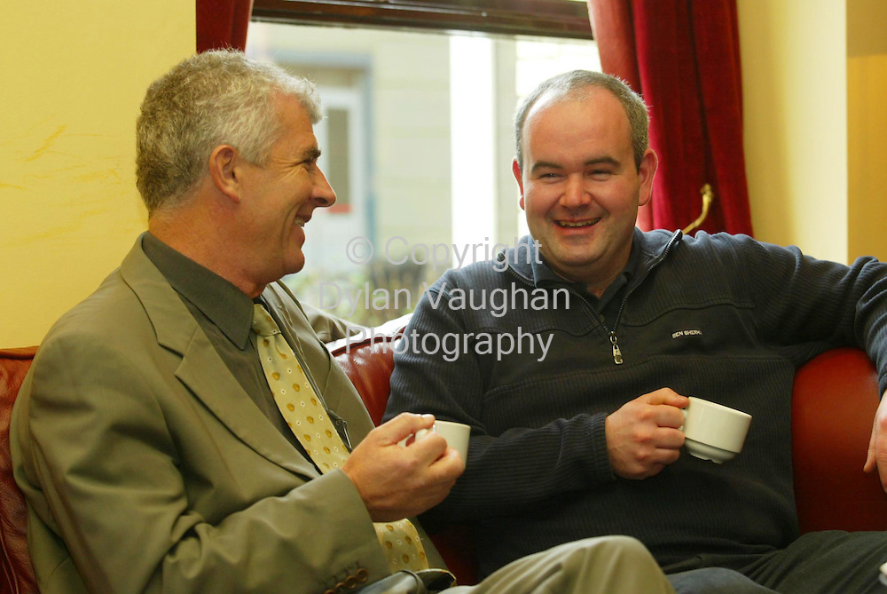 23/11/2002 Irish Examiner.Pictured at the Macra Na Feirme young farmers conference at the Springhill Court Hotel in Kilkenny was Michael Murphy from Cork and Patrick Kelly from Donegal Macra Na Feirme National Chairman..Picture Dylan Vaughan