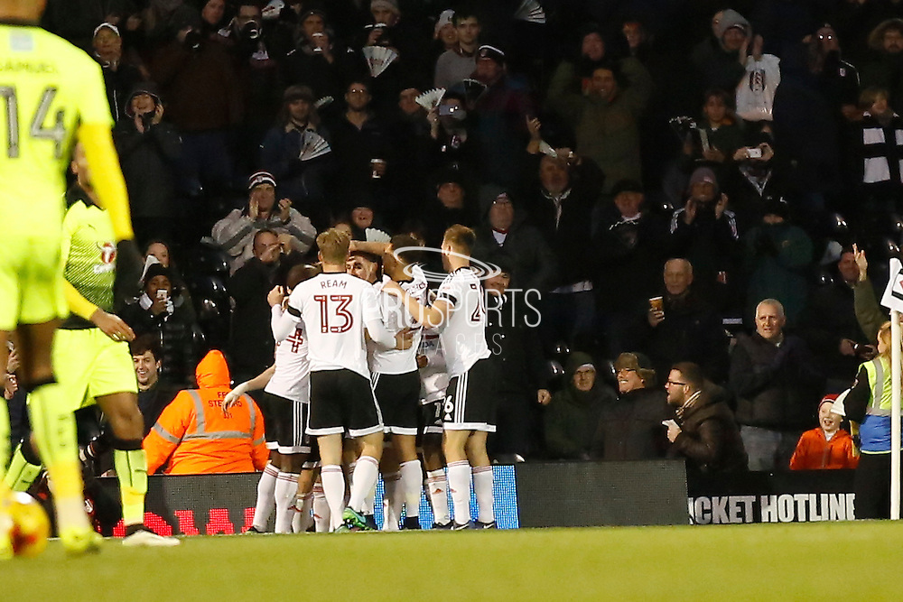 Fulham FC celebrate the second goal 2-0 during the EFL Sky Bet Championship match between Fulham and Reading at Craven Cottage, London, England on 3 December 2016. Photo by Andy Walter.