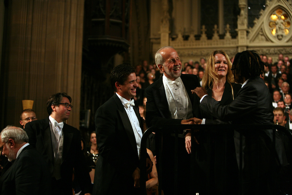 Conductors from left: Greg Funfgeld, Julian Wachner, Francisco J. Nunez, Brian Jones, Thea Kano and Melanie DeMore celebrate at the end of Remember to Love: Let Us Love One Another With A Sincere Heart, an observation of the 10th Anniversary of September 11 at Trinity Church in Manhattan, NY on September 09, 2011. The six choirs performing include NYC Master Chorale, Trinity Choir, Young People's Chorus of New York City, The Washington Chorus, The Bach Choir of Bethlehem and The Copley Singers.