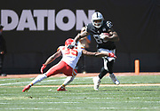 Sep 15, 2019; Oakland, CA, USA;Oakland Raiders tight end Darren Waller (83) is defended by Kansas City Chiefs cornerback Charvarius Ward (35) during the second half at Oakland-Alameda County Coliseum. The Chiefs defeated the Raiders 28-10..(Gerome Wright/Image of Sport)