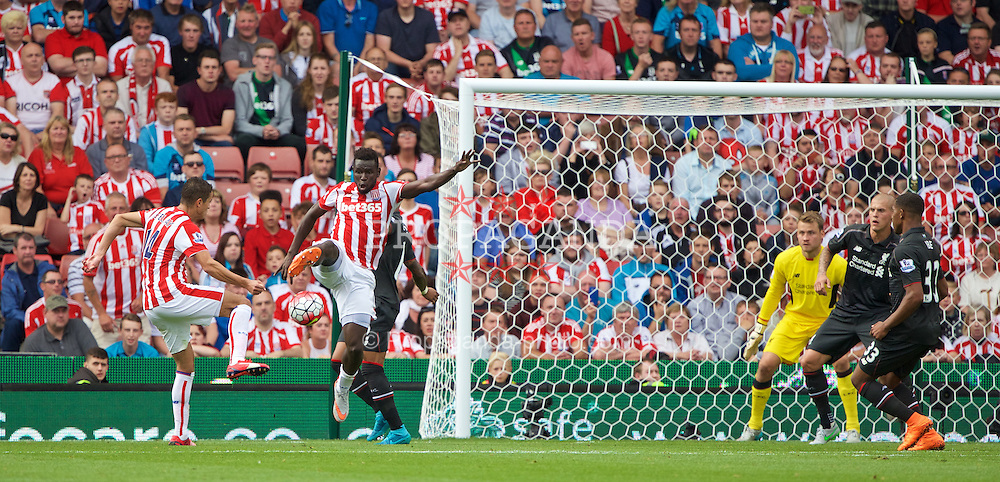 STOKE-ON-TRENT, ENGLAND - Sunday, August 9, 2015: Stoke City's Mame Diram Diouf in action against Liverpool during the Premier League match at the Britannia Stadium. (Pic by David Rawcliffe/Propaganda)