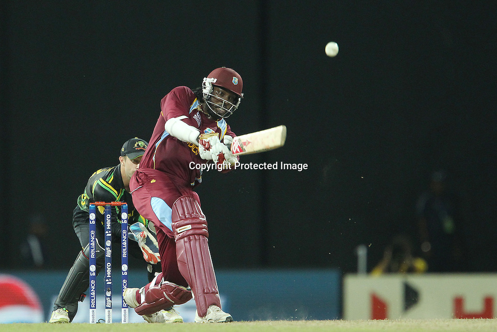 Chris Gayle of The West Indies hits over the top for six during the ICC World Twenty20 semi final match between Australia and The West Indies held at the Premadasa Stadium in Colombo, Sri Lanka on the 5th October 2012<br /> <br /> Photo by Ron Gaunt/SPORTZPICS